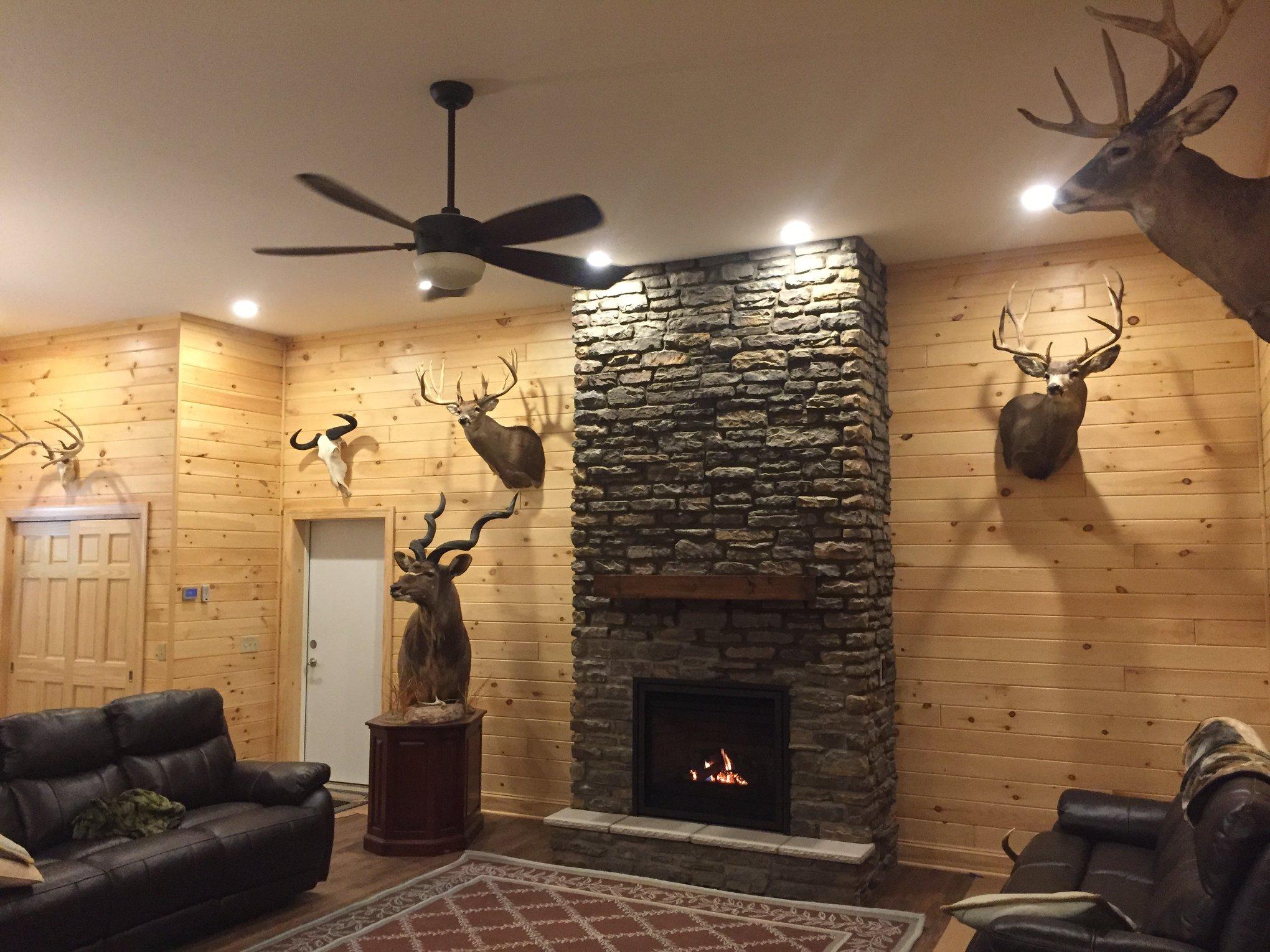 Regency P36 direct vent, propane, fireplace, stonework, hearth and mantel shelf.