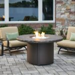 Marbleized Noche Beacon Chat Height Gas Fire Pit Table